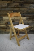 Where to rent CHAIR, NATURAL WOOD W  PADDED SEAT in Cary NC