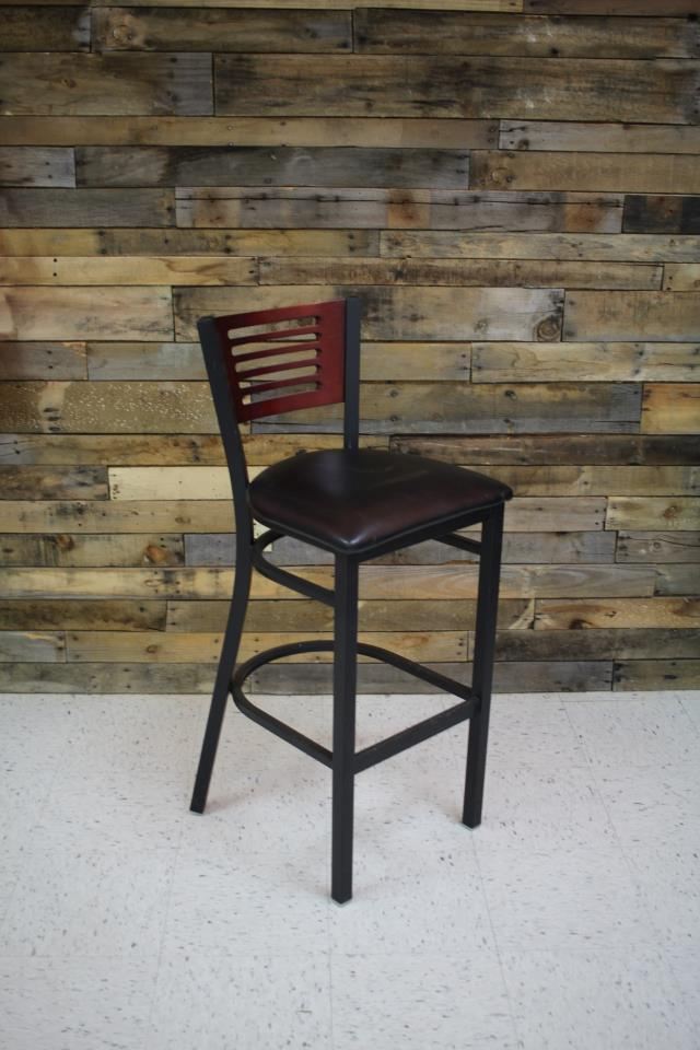 Where to find BARSTOOL, BLACK PAD W  WOOD BACK in Cary
