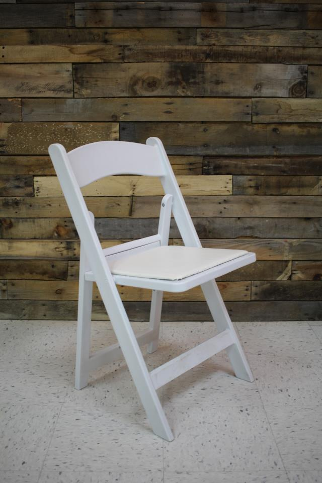 Where to find CHAIR, WHITE WITH PADDED SEAT in Raleigh