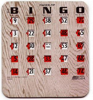 Where to find BINGO CARDS, SLIDE TYPE in Cary
