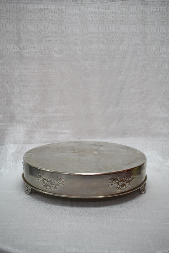 Where to find CAKE STAND, 18  ROUND SILVER in Cary